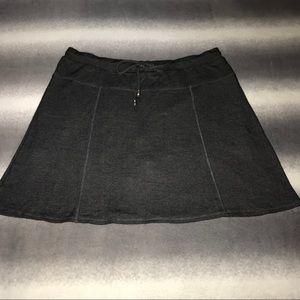 GreenTea Charcoal Textured Knit Drawstring Skort